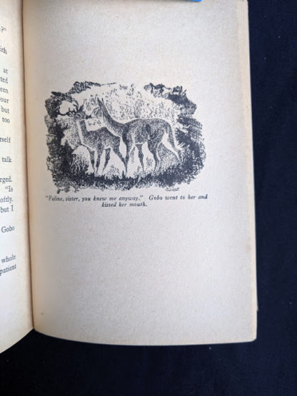 illustration of Gobo kissing Faline in a 1929 copy of Bambi by Felix Salten published by Grosset & Dunlap