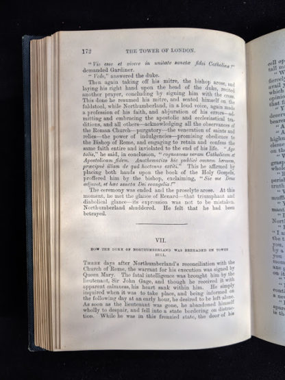 page 172 in a 1880s copy of The Tower of London by Ainsworth published by Routledge and Sons