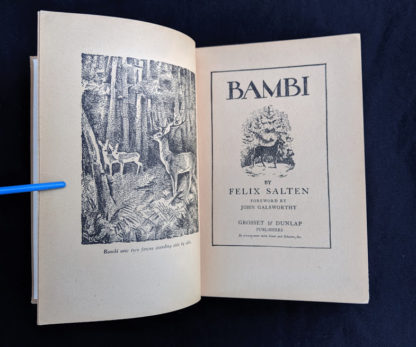 title page in a 1929 copy of Bambi by Felix Salten published by Grosset & Dunlap