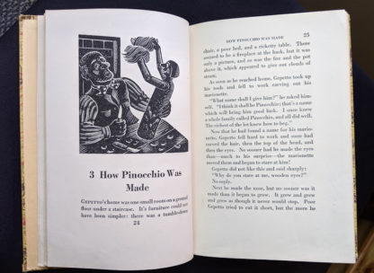 1946 second printing of a Rainbow Classics edition of Pinocchio The Adventures of a Little Wooden Boy page 24 and 25