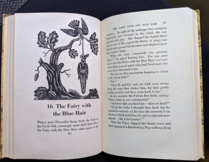1946 second printing of a Rainbow Classics edition of Pinocchio The Adventures of a Little Wooden Boy page 86 and 87