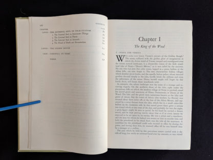 Contents page 4 and Chapter 1 inside a 1951 copy of The Golden Bough - A Study in Magic and Religion