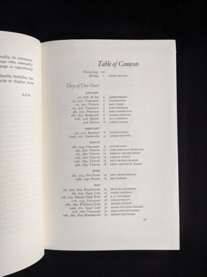 Table of Contents pg 1 of 3 in a 1958 first edition copy of British Columbia -A Centennial Anthology