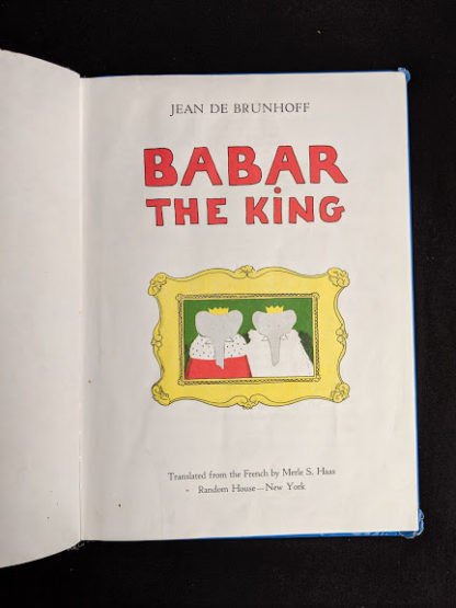 Title page in a 1963 copy of Babar the King by Jean de Brunhoff