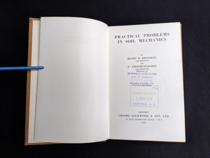 Title page inside a 1959 textbook Practical Problems in Soil Mechanics- third edition- by Henry R. Reynolds and P. Protopapadakis