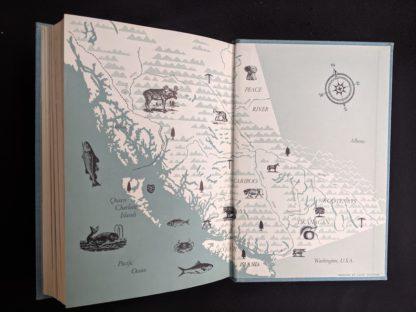 back pastedown and endpaper in a 1958 first edition copy of British Columbia -A Centennial Anthology