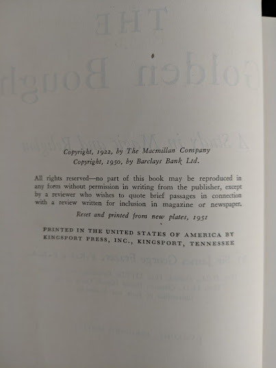 copyright inside a 1951 copy of The Golden Bough - A Study in Magic and Religion