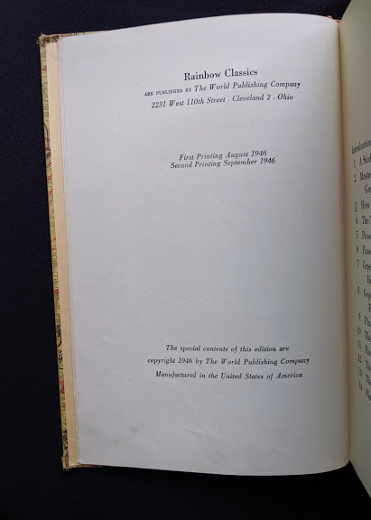 copyright page in a 1946 second printing of a Rainbow Classics edition of Pinocchio The Adventures of a Little Wooden Boy
