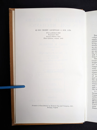copyright page inside a 1959 textbook Practical Problems in Soil Mechanics- third edition- by Henry R. Reynolds and P. Protopapadakis