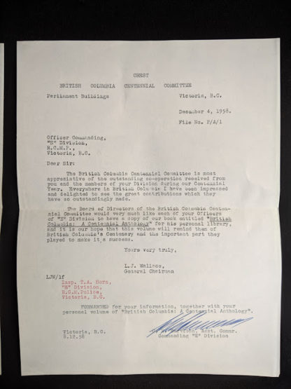draft copy of a letter signed from the general chairman of the British Columbia Centennial Committee to the Victoria RCMP inside a 1958 first edition copy of British Columbia -A Centennial Anthology