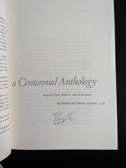 editor in chief 1958 first edition copy of British Columbia -A Centennial Anthology