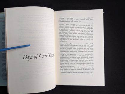 first page in a 1958 first edition copy of British Columbia -A Centennial Anthology