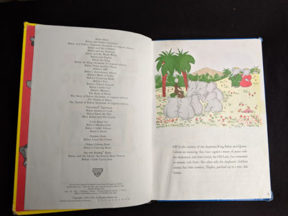 first page in a 1963 copy of Babar the King by Jean de Brunhoff