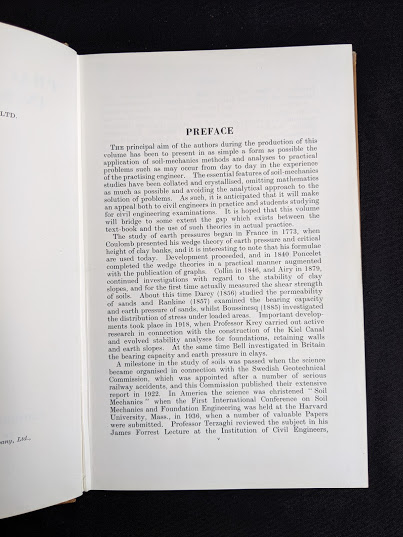 first page of the Preface inside a 1959 textbook Practical Problems in Soil Mechanics- third edition- by Henry R. Reynolds and P. Protopapadakis