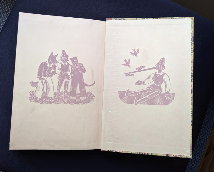 front pastdown and endpaper in a 1946 second printing of a Rainbow Classics edition of Pinocchio The Adventures of a Little Wooden Boy