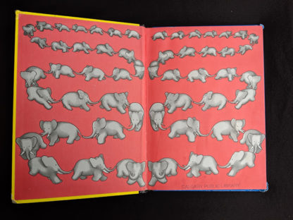 front pastedown and endpaper in a 1963 copy of Babar the King by Jean de Brunhoff
