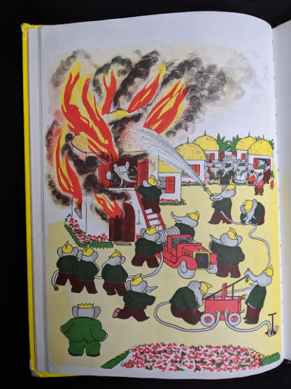 illustration of building burning down in a 1963 copy of Babar the King by Jean de Brunhoff