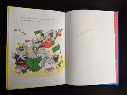last page in a 1963 copy of Babar the King by Jean de Brunhoff