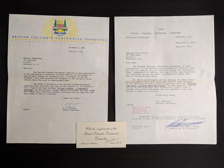 letter from the general chairman of the British Columbia Centennial Committee to the Victoria RCMP found inside a 1958 first edition copy of British Columbia -A Centennial Anthology