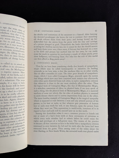 pg 43 inside a 1951 copy of The Golden Bough - A Study in Magic and Religion - pg 43