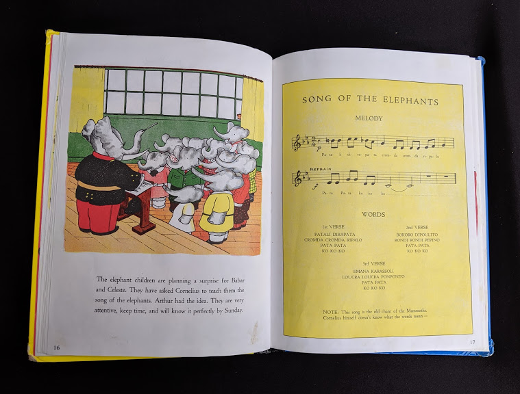 song of the elephants in a 1963 copy of Babar the King by Jean de Brunhoff