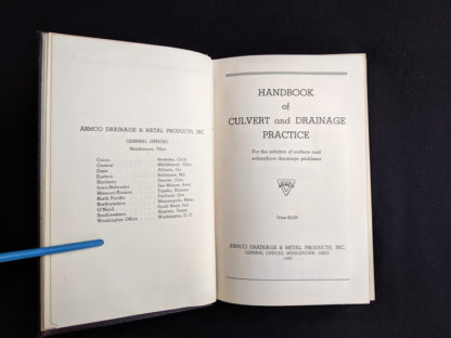 title page in a 1950 copy of Handbook of Culvert & Drainage Practice - ARMCO Products