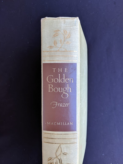 upper spine view on a 1951 copy of The Golden Bough - A Study in Magic and Religion