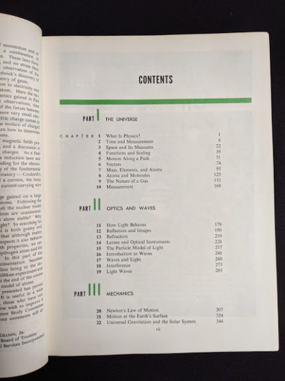 Contents page 1 of 2 in a 1960 copy of Physics - Physical Science Study Committee - First Edition