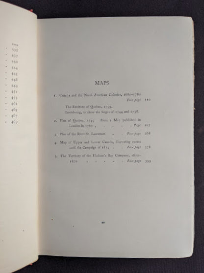 List of Maps in a 1904 copy of Old Quebec - The Fortress of New France by Gilbert Parker and Claude G Bryan