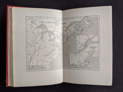 Map of Canada and the North American Colonies 1680-1782 in a 1904 copy of Old Quebec - The Fortress of New France by Gilbert Parker and Claude G Bryan