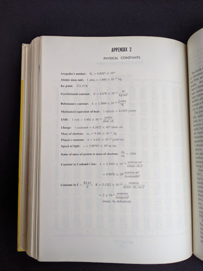 Physical Constants page inside a 1960 copy of Physics - Physical Science Study Committee - First Edition