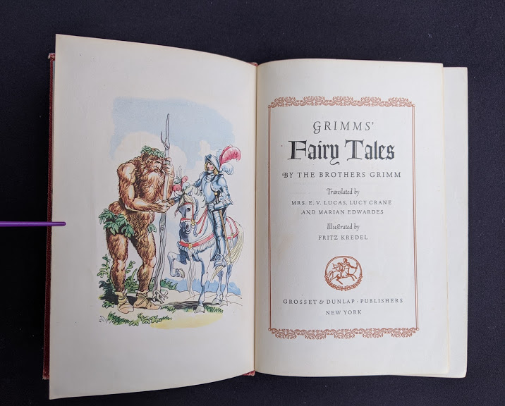 Title page inside a 1945 Grimms Fairy Tales By the Brothers Grimm published by Grosset & Dunlap