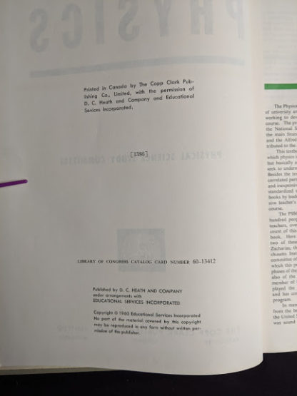 copyright page in a 1960 copy of Physics - Physical Science Study Committee -First Edition