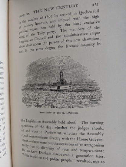 illustration up close of a ferry boat on the St Lawrence in a 1904 copy of Old Quebec - The Fortress of New France by Gilbert Parker and Claude G Bryan