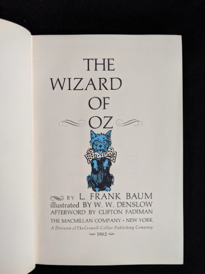 title page in a 1962 copy of The Wizard of Oz published by Macmillan Company with illustrations by Denslow