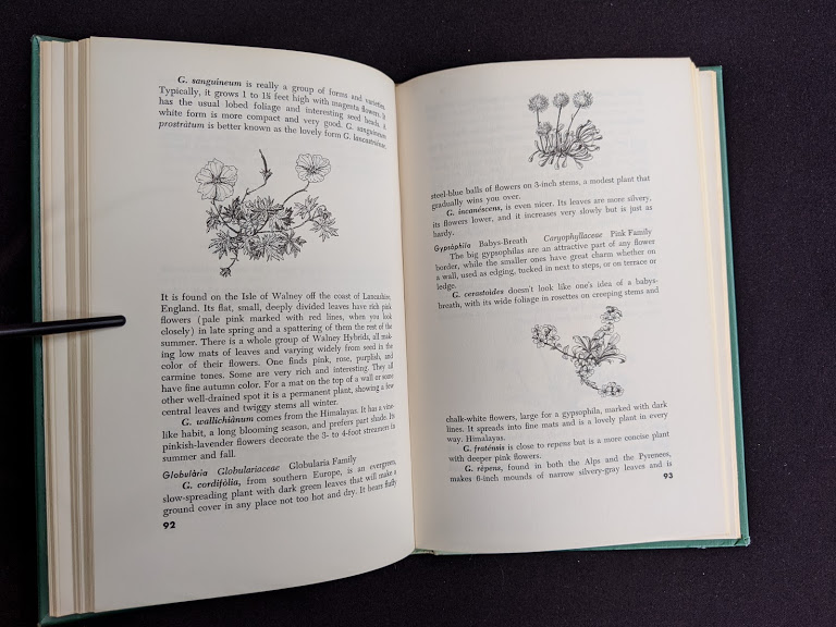 1959 copy of Rock Garden Plants - New Ways to Use Then Around Your Home by Doretta Klaber - descriptive list of plants