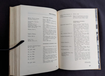 Bibliography at the back of a 1958 first edition copy of KLONDIKE - The Life and Death of the Last Great Gold Rush by Pierre Berton