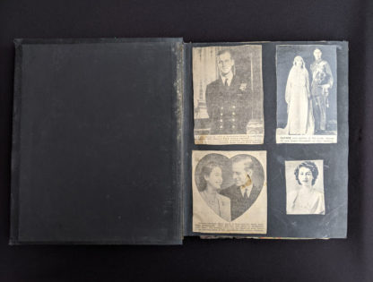 First page inside Vintage Souvenir Book Full of early article pictures of Queen Elizabeth