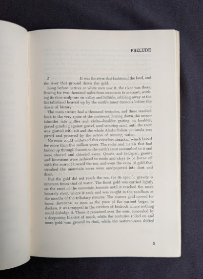First page of the Prelude inside a 1958 first edition copy of KLONDIKE - The Life and Death of the Last Great Gold Rush by Pierre Berton