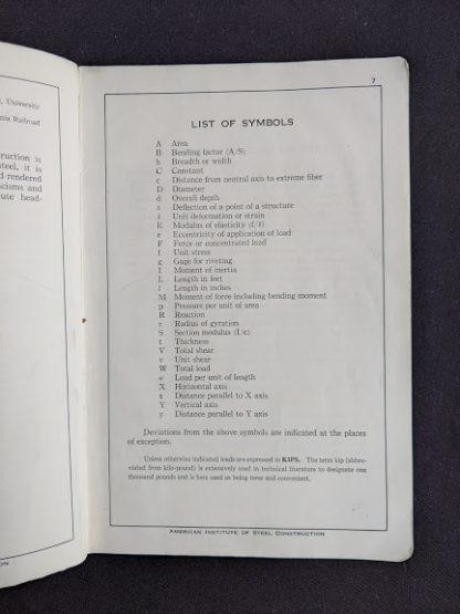 List of Symbols in a 1941 copy of Steel Construction published by American Institute Of Steel Construction- third edition - fourth printing
