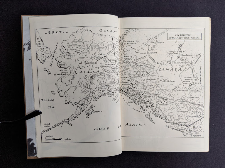 Map of Alaska in a first edition 1958 copy of KLONDIKE - The Life and Death of the Last Great Gold Rush by Pierre Berton