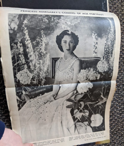 Princess Margarets Coming of Age Portraite inside a Vintage Souvenir Book Full of early article pictures of Queen Elizabeth