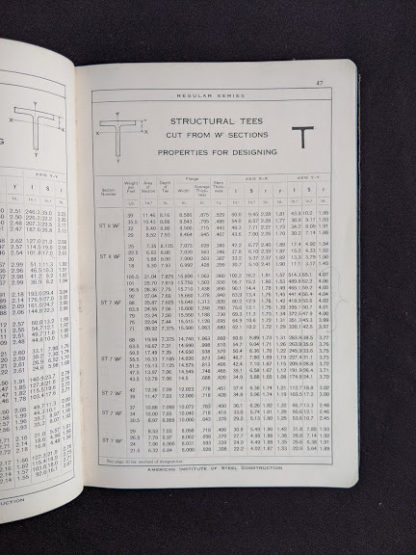 Structural Tees in a 1941 copy of Steel Construction published by American Institute Of Steel Construction- third edition - fourth printing