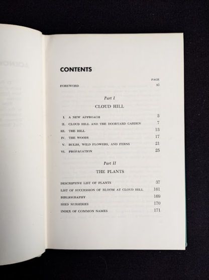 Table of Contents in a 1959 copy of Rock Garden Plants - New Ways to Use Then Around Your Home by Doretta Klaber