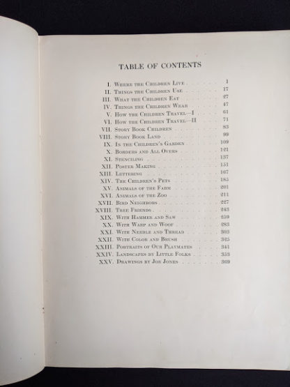 Table of Contents inside a 1926 copy of Master Book 1 - Beginning the Use of Tools and Materials Published by Lewis E Myers & Company