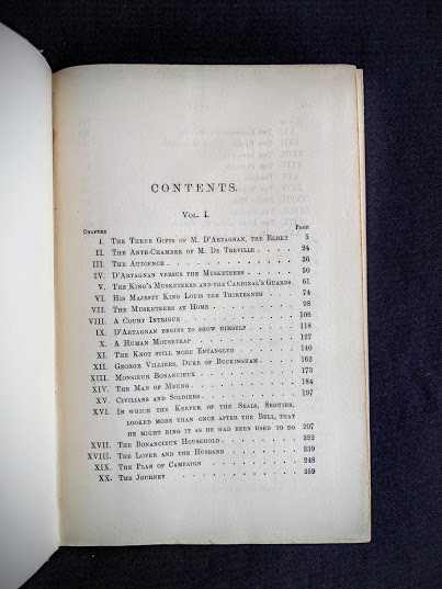 Table of contents pg 1 of 4 inside a 1900 copy of The Three Musketeers by Alexandre Dumas - Published by Caldwell Company Publishers