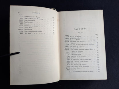 Table of contents pg 2 and 3 of 4 inside a 1900 copy of The Three Musketeers by Alexandre Dumas - Published by Caldwell Company Publishers