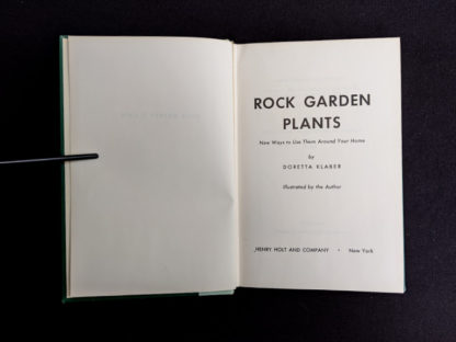 Title page in a 1959 copy of Rock Garden Plants - New Ways to Use Then Around Your Home by Doretta Klaber