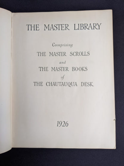 Title page inside a 1926 copy of Master Book 1 - Beginning the Use of Tools and Materials Published by Lewis E Myers & Company