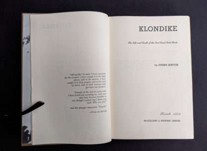 Title page inside a 1958 KLONDIKE - The Life and Death of the Last Great Gold Rush by Pierre Berton - Stated First Edition (Canadian)